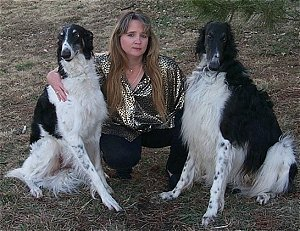 Lynn with borzoi Nikki and Nigel